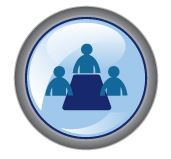 Round blue icon with symbolized people around a table.